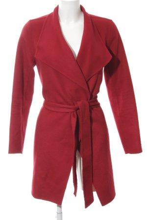 Hallhuber Abrigo de lana rojo oscuro estilo sencillo