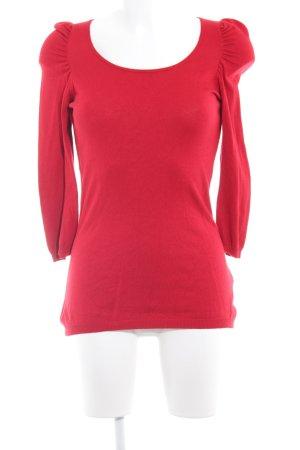 Hallhuber Jersey de lana rojo estilo romántico