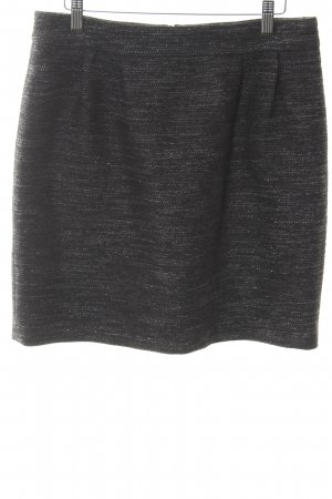 Hallhuber Wool Skirt black-silver-colored shimmery