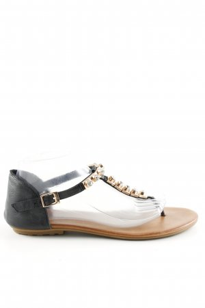 Hallhuber Sandalo toe-post nero-oro stile casual