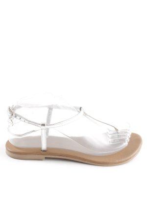 Hallhuber Sandalo toe-post argento stile spiaggia