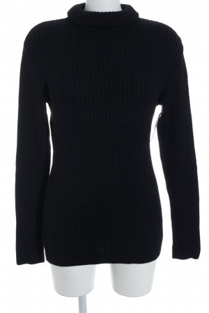 Hallhuber Cable Sweater black cable stitch casual look