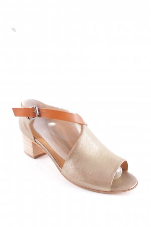 Halmanera High-Heeled Toe-Post Sandals gold-colored-brown second hand look