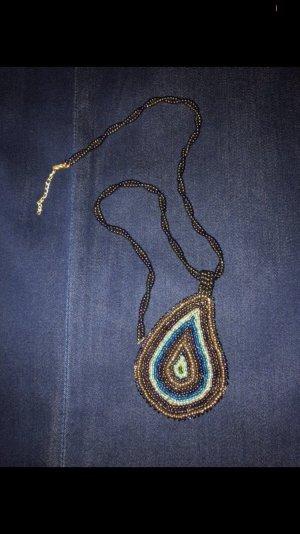 Pearl Necklace bronze-colored-neon blue