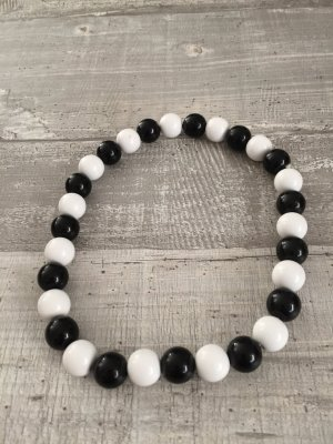 Pearl Necklace white-black synthetic material