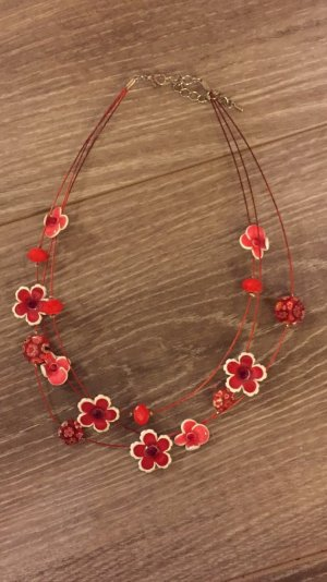 Necklace white-red