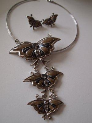 Halskette Anhänger Schmetterling + Ohrringe