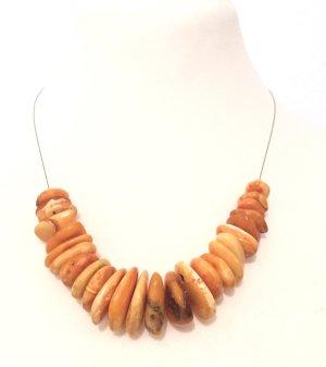 Halskette aus Edelstahl mit echten Butterscotch Bernsteinen