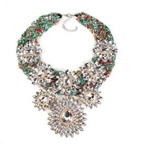 Halskette Blogger Statement-Kette  rot orange türkis mint gold weiß Perlen