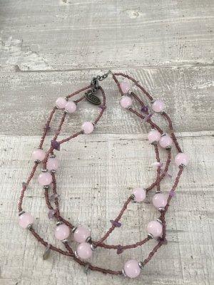 Cecil Collana rosa pallido-grigio-lilla Vetro