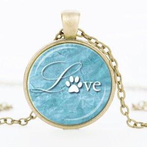 Halskette Cabochon Anhänger Hundepfote nostalgisch silber blau rund