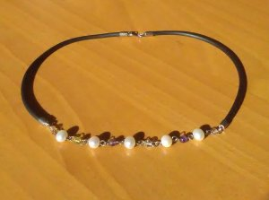 Halskette Collier Echte Perlen 925er Silber Halbedelsteine