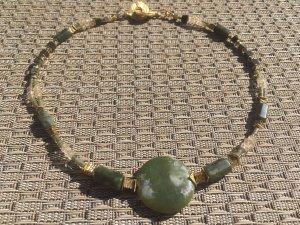 Halskette Collier Jade Serpentin Citrin Edelstein & vergoldetes Kupfer