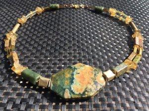 Halskette Collier Rhyolith Jade Citrin Unakit Hämatit Edelsteine & vergoldetes Kupfer
