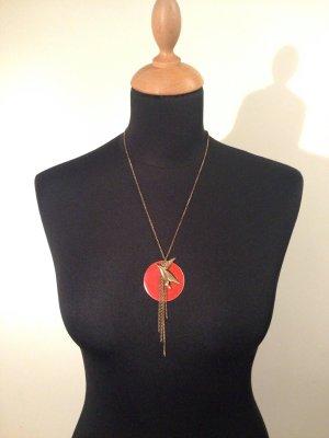 Halskette Collier Statement Kette Kranich Sonne orange rost bronze Asien
