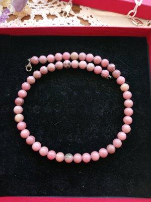 Halskette echte Steine Rosa 925 Silber