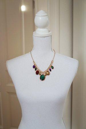 Halskette gold mit bunten Steinen Verschluss Geschenk Weihnachtsgeschenk NEU