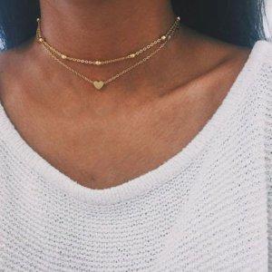 Halskette gold Modeschmuck Schmuck Vintage Booho Herz