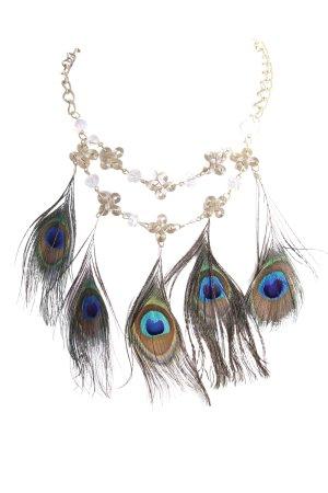Halskette goldfarben mit Pfauenfedern