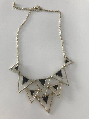 Halskette goldfarben mit schwarzen Elementen
