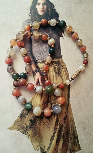 Halskette Halbedelsteine Drehverschluss vintage edel boho
