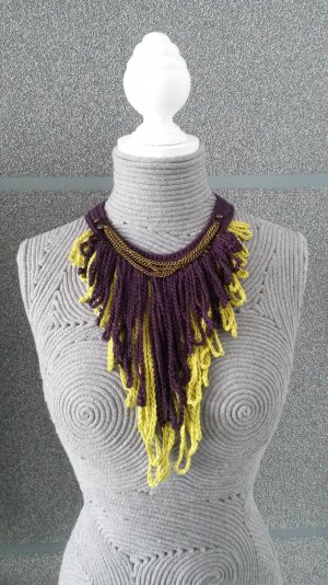 Necklace brown violet-lime yellow