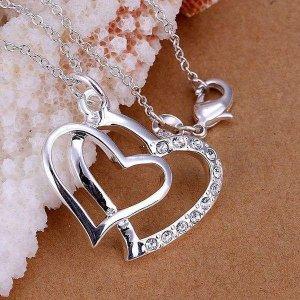 Halskette + Herz Anhänger 925er Silber mit Zirkonia – Liebe