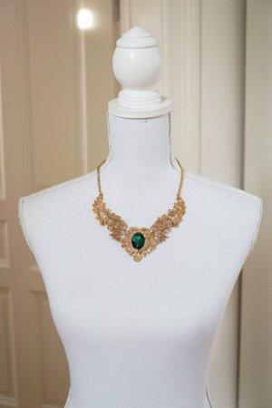 Halskette im Vintage-Look elegant edel gold grüner Stein Geschenk Weihnachten