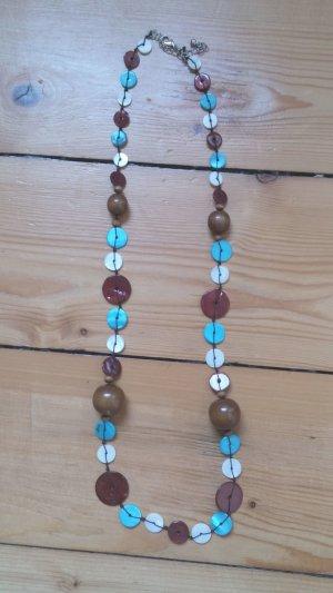 Halskette in Braun / Hellblau Boho Style