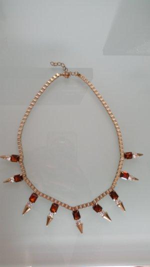 Halskette in gold mit Orangen Glitzersteinen
