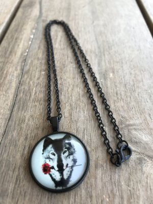 Halskette Kette Medaillon Wolf mit roter Rose im Maul - ROT - ROSE - WOLF