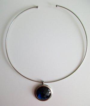 Halskette Kette Reif Halsreif silberfarben blau