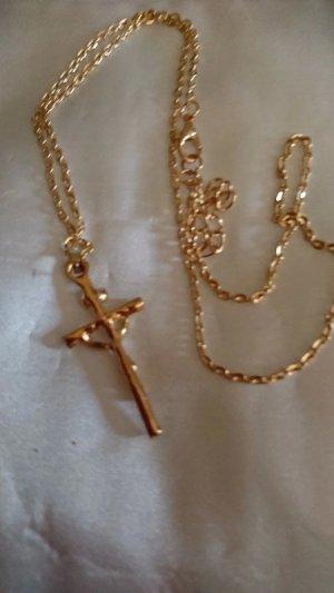 Halskette Kreuz mit Jesus  Goldfarbe