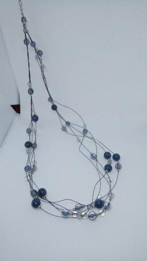 Halskette lang verspielt romantisch dunkelblau hellblau