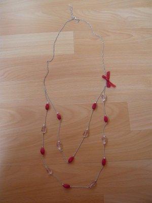 Halskette, LBVYR, Modeschmuck, 2reihig, silber/magenta, neu