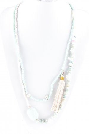 Necklace mint-white hippie style