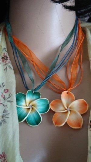Halskette mit Blume Orange und grün - Sommer