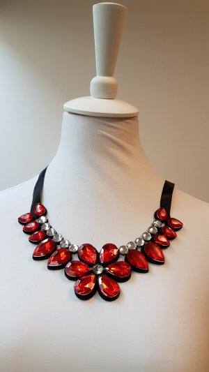 Necklace bright red recycled material