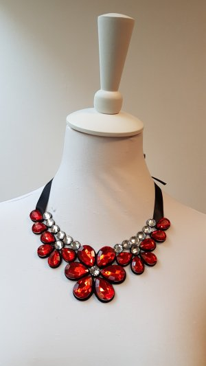 Necklace red recycled material