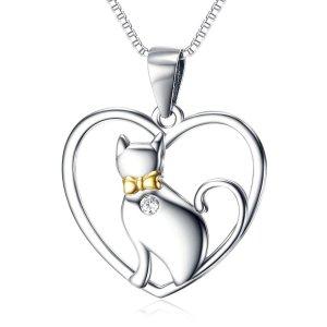 Halskette mit einem Katzen Anhänger 925 Sterling Silber