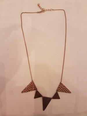 Halskette mit geometrischen Formen Dreieck goldfarben kupferfarben