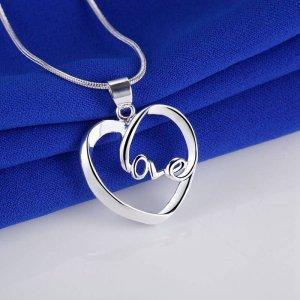 Halskette mit Herz Anhänger in 925er Silber – Herzkette Liebe Geschenk