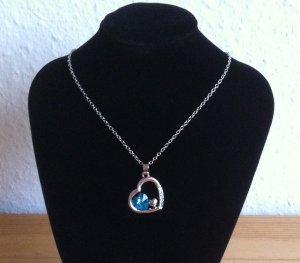Halskette mit Herzanhänger + Zirkonia Stein Herz Strass Kette