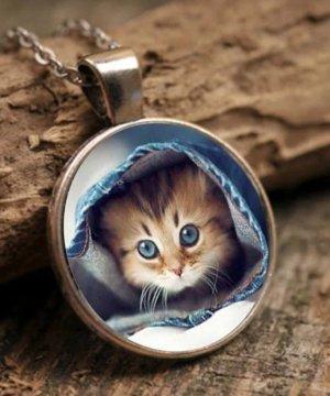 Halskette mit Katzen Cabochon -Glas Anhänger im Nostalgie Style