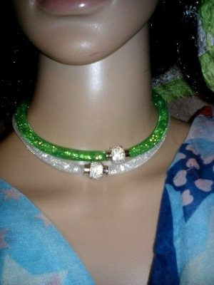 Collier Necklace white-green