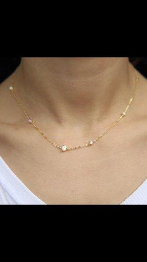 Halskette mit opal stein gold neu