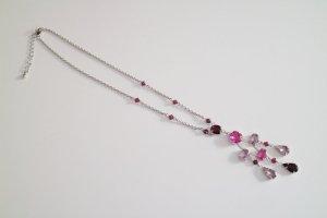 Halskette mit Steinchenanhänger | rosa/lila