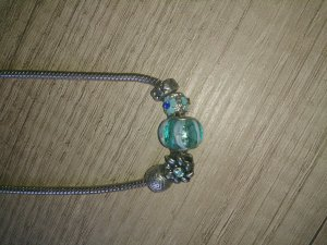 Necklace silver-colored-light blue