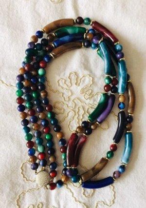 Halskette mit versch. bunten Perlen und Silberverschluss retro