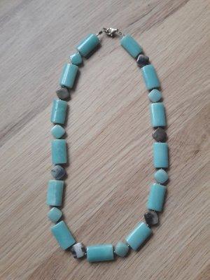 Halskette Natursteine Halbedelstein türkis aqua grau 46cm